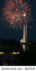 View of the 4th of July Fireworks in Washington DC, fireworks over the Washington Monument with a view of the Capitol in the background