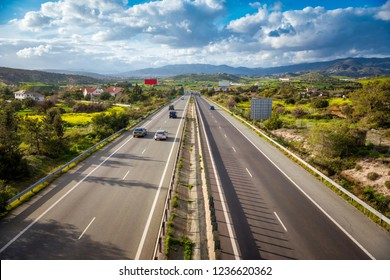 View of A1 motorway, locally referred to as the Nicosia-Limassol highway. Cyprus.