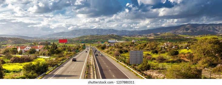 View of A1 motorway, locally referred to as the Nicosia-Limassol highway. Cyprus