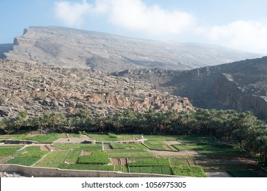 View of abandoned ancient village of Ghul at the entrance of Wadi Nakhr, Oman