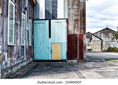 View of abandoned Industrial Buildings made of corrugated iron