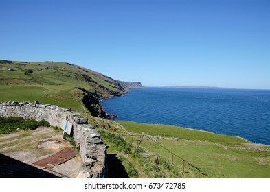View from the abandoned lookout station on top of the headland Torr Head in the County Antrim in Northern Ireland, UK