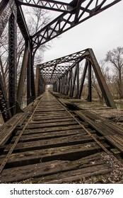 A view of an abandoned truss bridge for the Pennsylvania Railroad over the Shenango River in New Castle, Pennsylvania.