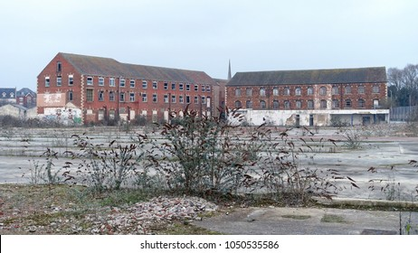 View of Abandoned Wasteland on a Former Industrial Site in a Town Centre - Namely Trowbridge in Wiltshire England which has Seen Economic Decline Since the Shift to Service Industry in the 1980s