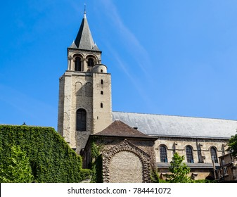 View of the Abbaye Saint-Germain-des-Pres abbey, a Romanesque medieval Benedictine church located on the Left Bank in Paris