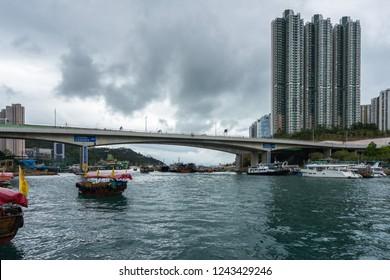 View of Aberdeen harbour with sampans, a traditional chinese wooden boats. Aberdeen, Hong Kong Island, Hong Kong, January 2018