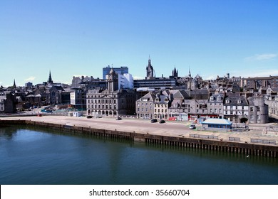 View of Aberdeen skyline from inside the docks or harbor area