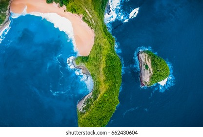 View from Above. Aerial Tropical Blue Background. Tropical Top View. Crystal clean Sea Water. Aerial shot. Paradise Tropical Beach Background. Panoramic Aerial View. Beautiful Blue Lagoon, Beach Bay