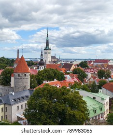 view from above of the ancient part of the city of Tallinn. Typical red tiled roofs. Estonia