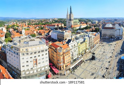 View from above of Ban Jelacic Square in Zagreb , Croatia