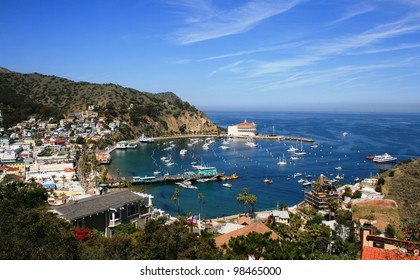 View from above of the bay and casino, Avalon, Santa Catalina Island, California