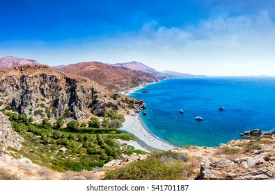 View from above to the beach in Crete island