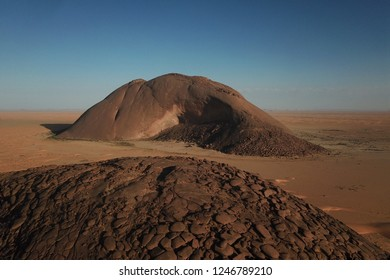 view from above at Ben Amira Monolith in Sahara desert