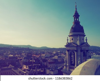 A view from above of Budapest, Hungary from St. Stephen's Basilica roof top in Pastel/vintage color