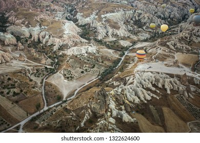 View from above the Cappadocia Valleys with balloons. Turkey.
