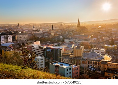 View from above of Cluj Napoca city and St. Michael's Church in a sunny morning
