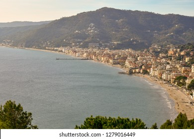 View from above of the coastal city of Alassio, Liguria, Italy