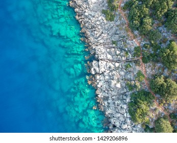 A view from above of a coastline with turquoise water and trees. Diagonal coastline. Turkey