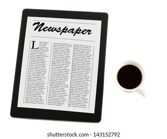 View from above of a cup of coffee and a tablet with (fake) newspaper on the cover, isolated over white