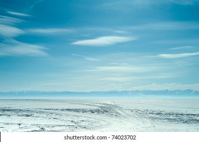 view above frozen lake in winter