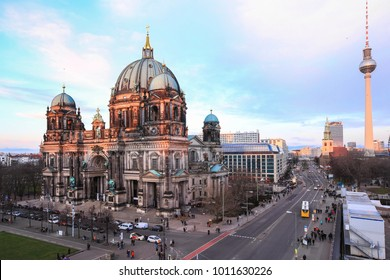 View from above, full of tourists enjoy visiting Berlin Cathedral, Berliner Dome at daytime, Berlin ,Germany