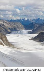 View above great Aletsch glacier seen from Jungfraujoch, Switzerland