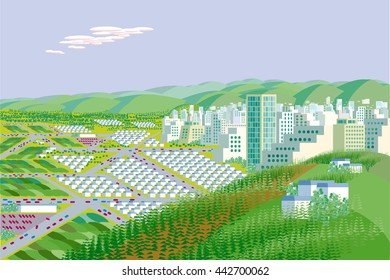 View from above of Green City Illustration