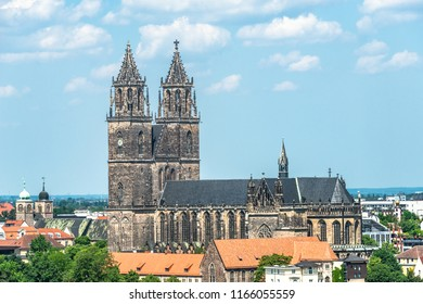 View from above of Magdeburg Cathedral, Magdeburg, Germany Summer, sunny day, clouds