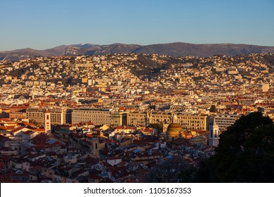 View above Nice city at sunrise, provence Alpes-Maritimes Cote d'Azur.