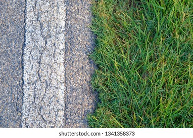 View from above on an asphalt road with white line and a lush green grass. Summer outdoor photography.