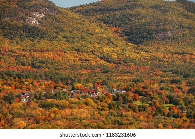 View from above on autumn motley multicolored forests and small houses hidden among trees. White Mountain National Forest.  USA. Million shades of autumn.