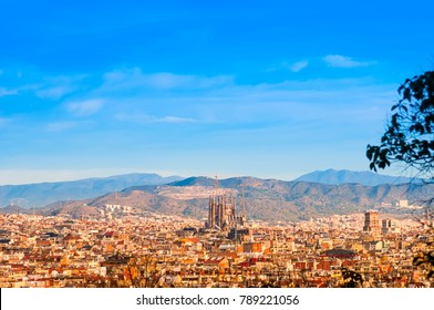View above on Barcelona from Montjuic hill
