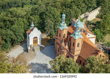 View from above on the Baroque Saint Lawrence church in Prague