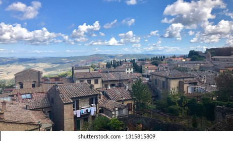View from above on beautiful old houses of Volterra in Tuscany