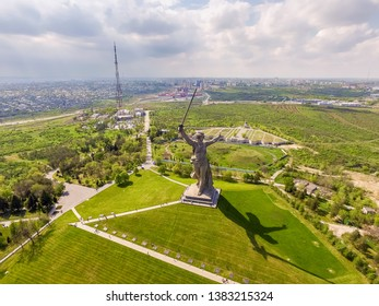View above on Central district Volgograd city near Volga River. View of Mamayev Kurgan, hill with memorial complex commemorating Battle of Stalingrad in World War II. Volgograd, Russia.