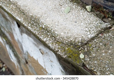 View from above on a diagonal on a fragment of an old concrete wall of marble chips with cracks and moss-covered with shallow depth of field and blurred background.