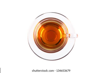 View from above on glass cup of tea isolated on white backgrond
