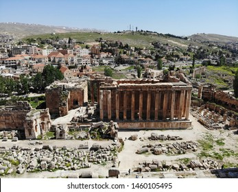 View from above on the Lebanon. Western Asia country which is called also Lebanese Republic. Aerial photo created by drone. Baalbek, one of the oldest ancient city in the world. Great theatre