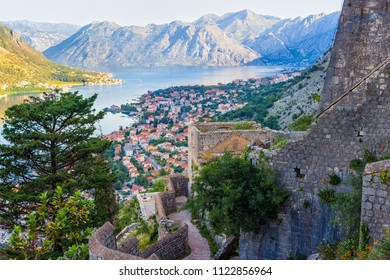 View from above on the old city Kotor, boka-kotor bay in Adriatic sea and mountains, Montenegro. sunrise, gorgeous nature landscape.