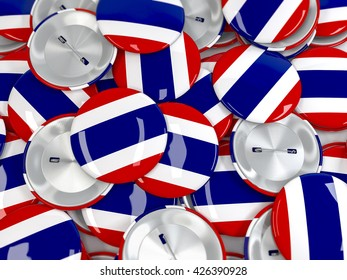 View from above on pile of button badges with flag of Thailand. Realistic 3d render