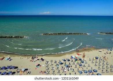 View from above on a resting people on the Adriatic coastline with the beaches in Montesilvano Pescara, Abruzzo region