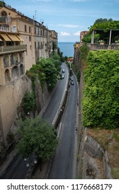 View from above on a road between houses in the beautiful town of Sorrento, Italy
