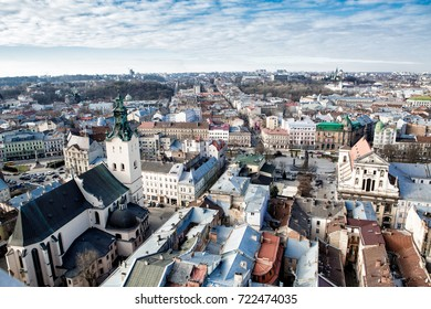 view from above on the roofs of the houses of the city of Lviv. historical Center