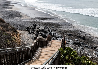 View from above on staircase leading to South Carlsbad State Beach in Carlsbad, California.