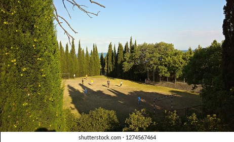 View from above on a trampled football field, surrounded with the tall cypresses, trees some young men playing football on a sunny evening. Partial sea view & a cypress dotted with round, green cones