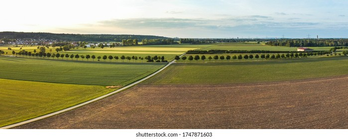 View from above over agricultural fields and a field path near Bergheim