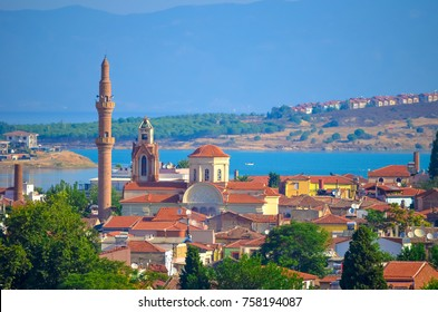 View above the roofs of the town of Ayvalik and moschonisia islands, Turkey.