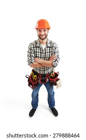 view from above of smiley builder in hard hat and belt with tools. isolated on white background