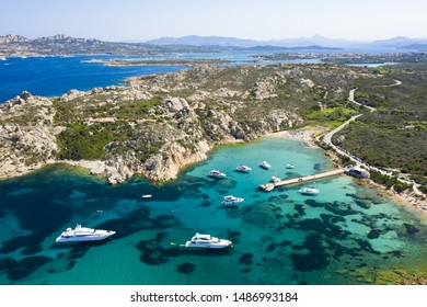 View from above, stunning aerial view of the Maddalena archipelago in Sardinia with beautiful bays of turquoise sea. Maddalena Arcipelago National Park, Sardinia, Italy.