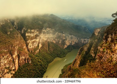 View from above the Sumidero Canyon in Chiapas, Mexico